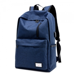 USB rechargeable canvas backpack men's backpack female student bag travel leisure business bag navy blue one size