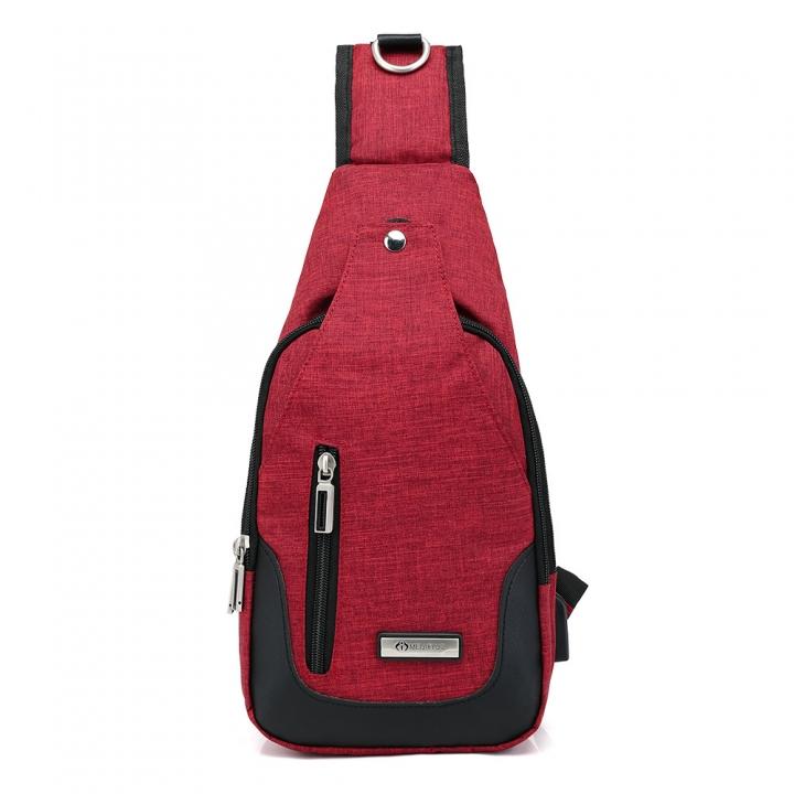 Men s nylon chest bag sports backpack retro charging Korean casual female  chest Messenger bag red one e177868abdd5c