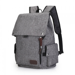 Large-capacity Oxford cloth backpack female men's college wind student bag trend travel backpack grey one size