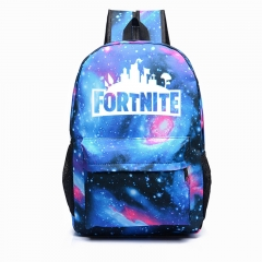 Custom Fortnite Game Fortress Night Lights Bag Men and Women Backpack Youth Campus Backpack blue2 one size