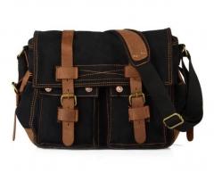 Canvas bag Europe and America Retro messenger bag Leisure men shoulder Bags High-quality Travel black one size
