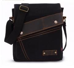 High Quality Small Business Men's Bag Fashion Men Shoulder Bag Leather Canvas Travel Messenger Bag black one size