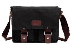 Men Crossbody Bag Vintage Canvas Bag Military Style Messenger Bag black one size