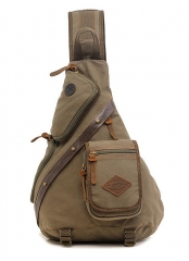 Men Chest Back Pack Bag Satchel Single Shoulder Bag Canvas Rucksack army green one size