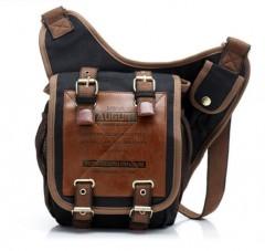 Men's Vintage Canvas Messenger Bags Travel Crossbody Bag black one size