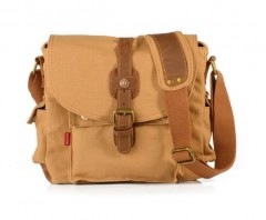 Fashion Men's Shoulder Bag Canvas Vintage Messenger Bag Khaki one size
