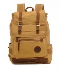 Fashion Men Backpack Canvas Travel Laptop Backpacks Khaki one size
