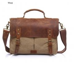 Vintage Messenger shoulder Bag for Men and Women Canvas Back to School Satchel Laptops Bag Men khaki one size
