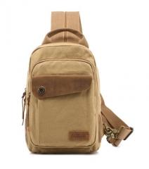Men'S Pack Vintage Shoulder Bag For Men Canvas Travel Crossbody Bags Khaki one size