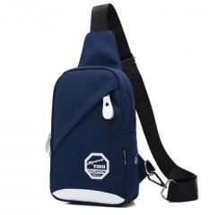 Multi-functional nylon Chest Bag Waterproof Sling bag blue one size