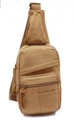 Man Shoulder Bag Canvas Messenger Bags Male Casual Chest pack Bag Khaki one size