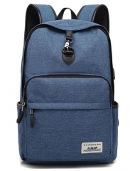 New Design Fashion Solid Color Canvas Men's Backpack Student bag blue one size