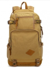Canvas schoolbag Backpack Hike Mountaineering Daypacks Khaki one size