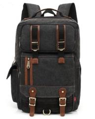 Fashion Men Backpack Canvas Travel Bag Teenagers Student Bags Rucksacks black one size