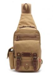 Men Chest Pack Bag For Men Casual Canvas Shoulder Bag Khaki one size