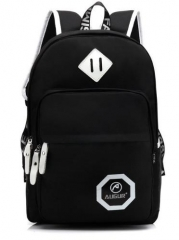 Casual Solid Color Women Men's Unisex Backpack Student bag black one size