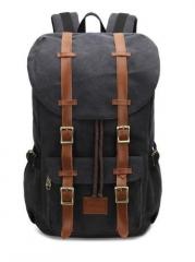 Men Canvas Large Backpack Travel Bags For Men Vintage Style Backpacks black one size