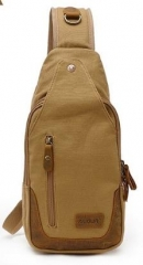 Newest Multi-functional Canvas Leather Chest Bags Casual Sling Bag Khaki one size