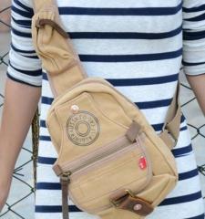 Man Shoulder Bag Canvas Messenger Bags Larger Bag Chest Sling Bag Khaki one size