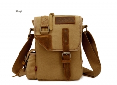 Canvas casual men's bag shoulder packet leisure business bag Khaki one size