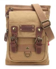 Leisure Shoulder Bag Canvas Vintage Messenger Bag Men's Chest Bag Khaki one size