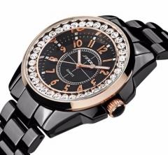 Women's wristwatch ceramic strap diamond water clock British watch black&gold