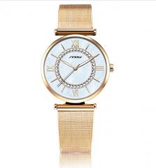 Women's quartz wrist watch with rhinestone watch gold