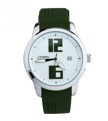 Quartz sports watch with silicone strap for women green