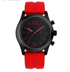 Fashionable women's watch waterproof silicone watch red