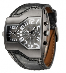 Male Outdoor Sport Wristwatches Multiple Time Zone Mens Watches black one size