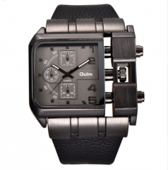 Men Top Brand Luxury Sport Male Quartz Watch Wide PU Leather black one size