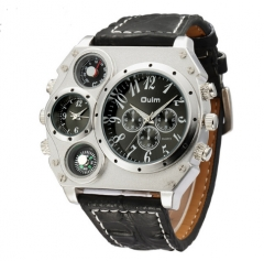 Male Sports Watch Multiple Time Zone Quartz Watches Casual Wristwatch black one size