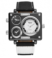 Men's Watches Three Time Zone Quartz Watch Male Casual Wristwatch black&white one size