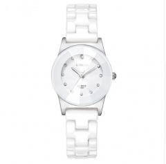 Women Ceramic Watch Fashion Geneva Couple Watches white one size