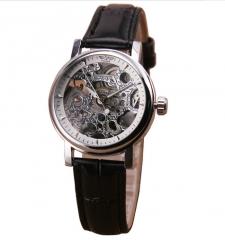 Women Mechanical Watch Leather Strap Retro Business Wristwatch white one size