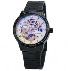 Men Automatic Watch Skeleton Military Mechanical Watch black one size