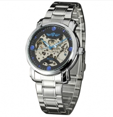 Men's Luxury Mechanical Watch Stainless-steel Band Skeleton Dial black one size