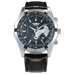Fashion Casual Auto Mechanical Watch Men Leather Strap Mens Watches black one size