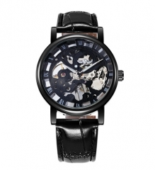 Fashion Mechanical Men Watch Business Leather Strap Wristwatch black one size