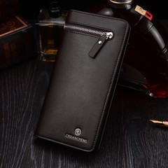 New men's wallet long zipper business multi-card soft leather handbag wallet phone bag suit bag tide brown one size