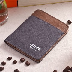 Canvas Men's Wallet Men's Short Wallet Korean Retro Student Coin Purse Card Pack-grey1 grey1 one size