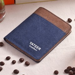 Canvas Men's Wallet Men's Short Wallet Korean Retro Student Coin Purse Card Pack-blue1 blue1 one size