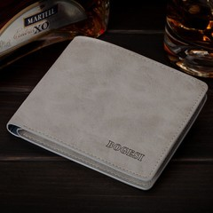 Men's new wallet men's retro ultra-thin short men's wallet-grey grey one size