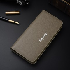 Korean version of the long men's handbag business multi-function single pull cross wallet khaki one size