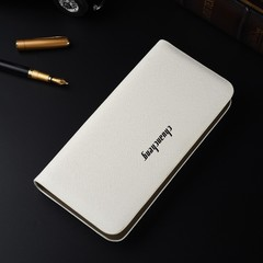 Korean version of the long men's handbag business multi-function single pull cross wallet white one size