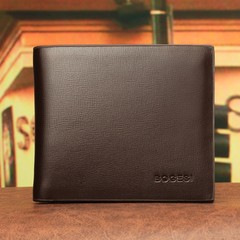 New men's Korean wallet ultra-thin short wallet men's short wallet wallet-brown brown one size