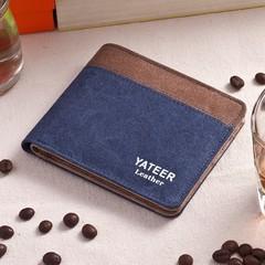Canvas Men's Wallet Men's Short Wallet Korean Retro Student Coin Purse Card Pack-blue blue one size