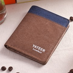 Canvas Men's Wallet Men's Short Wallet Korean Retro Student Coin Purse Card Pack-brown1 brown1 one size