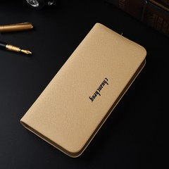 Korean version of the long men's handbag business multi-function single pull cross wallet beige one size