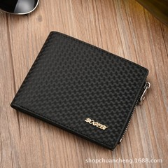 New men's leather soft face short men's wallet casual men's coin purse-black black one size